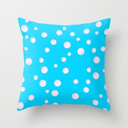White bubble. Blue water. Baby birthday patter Throw Pillow