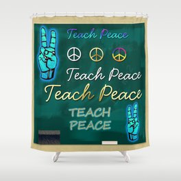Teach Peace Blackboard Symbols Shower Curtain