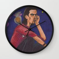 nick cave Wall Clocks featuring Nick On The Roof by Anna Gogoleva