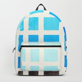 Cerulean Blue Minimalist Mid Century Grid Pattern Staggered Square Matrix Watercolor Painting Backpack