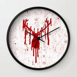 Red Stag Head Wall Clock