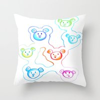 bears Throw Pillows featuring Bears by Angelz