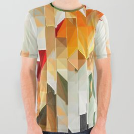 Geometric Tiled Orange Green Abstract Design All Over Graphic Tee