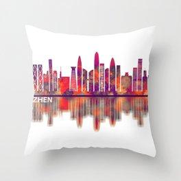 Shenzhen China Skyline Throw Pillow
