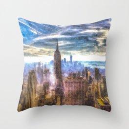 New York Manhattan Skyline Art Throw Pillow