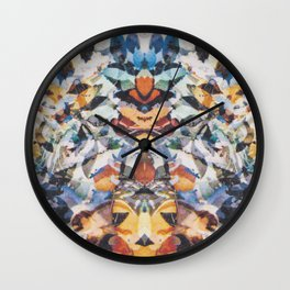 Rorschach Flowers 4 Wall Clock