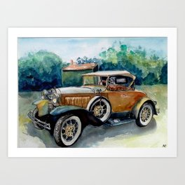 The vintage yellow car Art Print