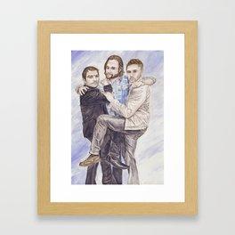 Team Free Will: Misha Collins; Jared Padalecki and Jensen Ackles, watercolor painting Framed Art Print