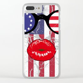 Funny Betsy Ross Flag American Sunglasses T Shirt Gifts Clear iPhone Case