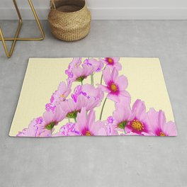 PINK COSMOS GARDEN FLOWERS ON CREAM COLOR Rug