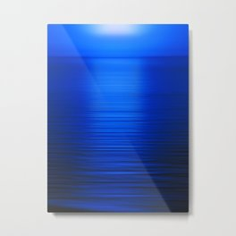 Sunset on the Water-Deep Blue Metal Print