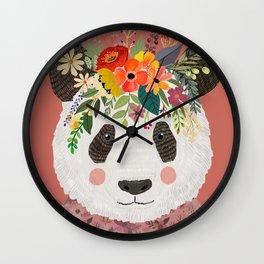 Cut Panda Bear with flower crown. Cute decor for kids Wall Clock