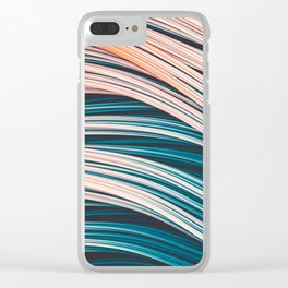 Vintage White and Blue Abstract Strands Clear iPhone Case