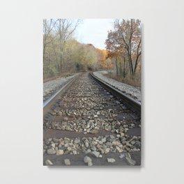 Walking The Railroad Tracks Metal Print