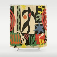 matisse Shower Curtains featuring Inspired to Matisse (vintage) by Chicca Besso