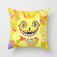 cheshire cat Throw Pillows featuring Cheshire Cat by Janna Morton