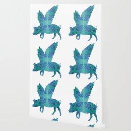 Vintage Blue Flying Pig Wallpaper