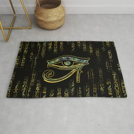 Egyptian Eye of Horus  on hieroglyphics gold and marble Rug