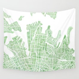 Sydney Australia watercolor city map Wall Tapestry