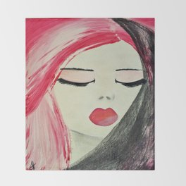 Shy Girl. Abstract Pink Girl. Pink Lips. Pink Hair. Jodilynpaintings. Eyelashes. Gift for All Girls. Throw Blanket