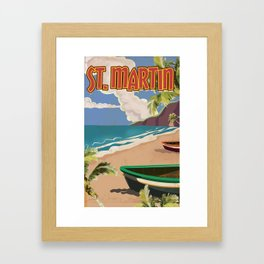 St Martin vintage vacation travel poster Framed Art Print