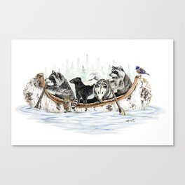 """"""" Critter Canoe """" wildlife rowing up river Canvas Print"""