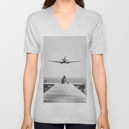 Steady As She Goes; aircraft coming in for an island landing black and white photography- photographs Unisex V-Neck