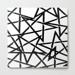 Interlocking Black Star Polygon Shape Design Metal Print