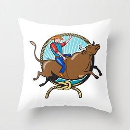 Rodeo Cowboy Bull Riding Lasso Cartoon Throw Pillow