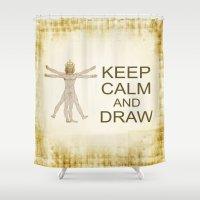 leonardo dicaprio Shower Curtains featuring keep calm leonardo by laika in cosmos