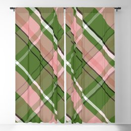 Pink and Green Preppy Plaid Blackout Curtain