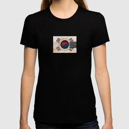 Old Vintage Acoustic Guitar with South Korean Flag T-shirt