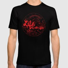 Life is All Right (RED) Black Mens Fitted Tee MEDIUM