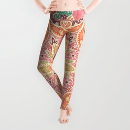 Paisly mandala hand drawn illustration pattern. Hand drawn painting ethnic background. Leggings