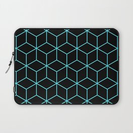 3-D Cube Pattern (Aqua on Black) Laptop Sleeve