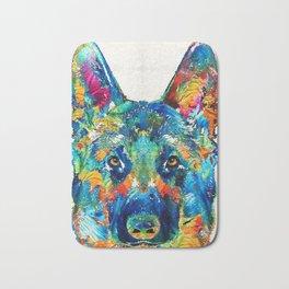 Colorful German Shepherd Dog Art By Sharon Cummings Bath Mat