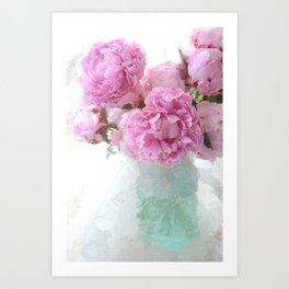 Impressionistic Romantic Peonies In Vintage Aqua Vase Art Print