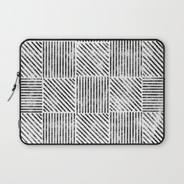 White and Black Distressed Diagonal Lines Pattern Vintage Unique Artistic Style Design Laptop Sleeve