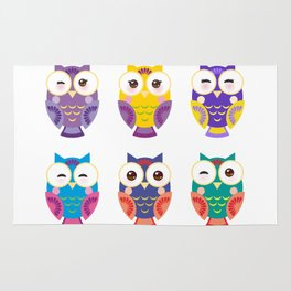 bright colorful owls on white background Rug
