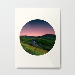 Mid Century Modern Round Circle Photo Green Mountain Hills With Purple Sunset Sky Metal Print
