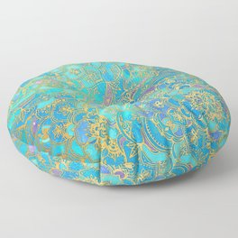 Sapphire & Jade Stained Glass Mandalas Floor Pillow