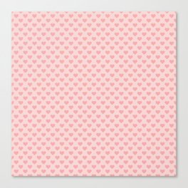 Large Blush Pink Lovehearts on Light Pink Canvas Print