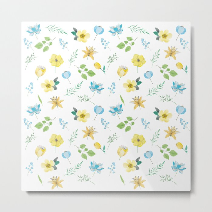 Spring-Blue and yellow flowers Metal Print