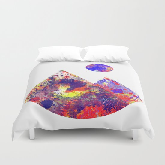 Primary Landscape - Geometric Abstract In Primary Colours - Red, Blue And Yellow Duvet Cover