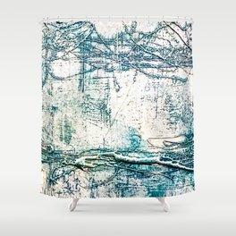 Subtle Blue Textured Acrylic Painting Shower Curtain