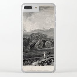 A couple walking on a hillside, the woman carrying a telescope Clear iPhone Case