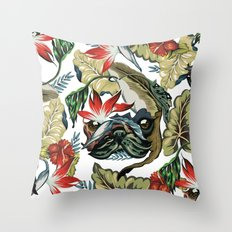 Tropical Pug Throw Pillow