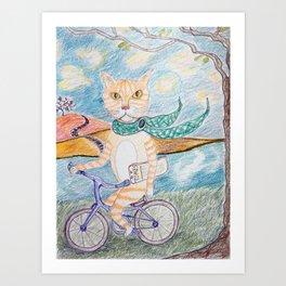 cat on bike Art Print