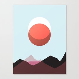 Minimalist Red Moon Lunar Eclipse with Mountains Canvas Print
