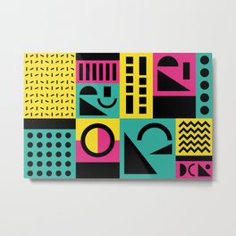Neo Memphis Pattern 2 - Abstract Geometric / 80s-90s Retro Metal Print
